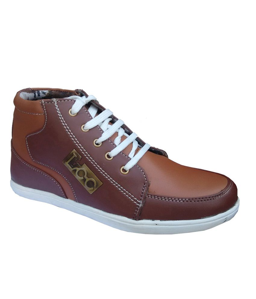 buy maayas brown synthetic leather canvas shoe for