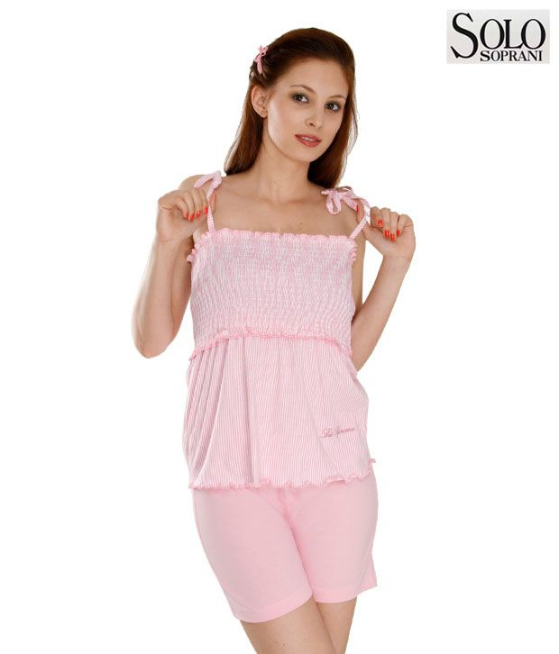 Solo Pink Striped Night Suit Set