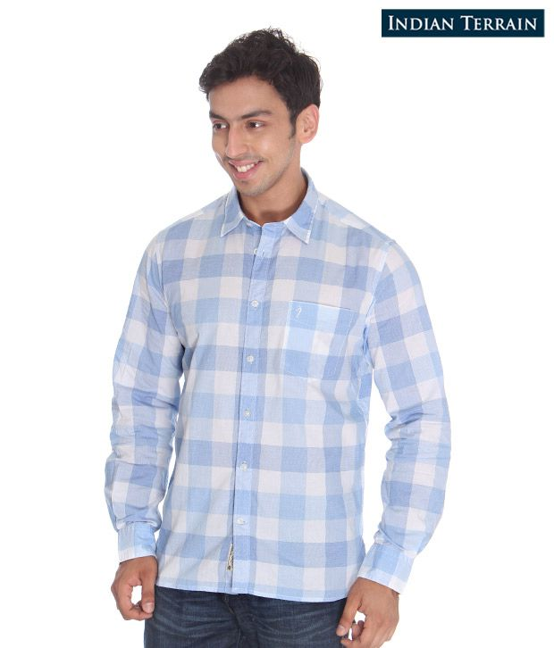 Indian Terrain Sky Blue-White Shirt