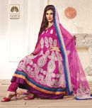 Compare Hiba Glorious Magenta Pink Net Unstitched Suit With Dupatta at Compare Hatke