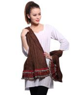 E-rato Striking Brown-Red Cotton Dupatta