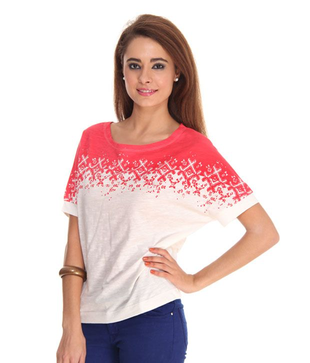 Denizen White-Pink Printed Top