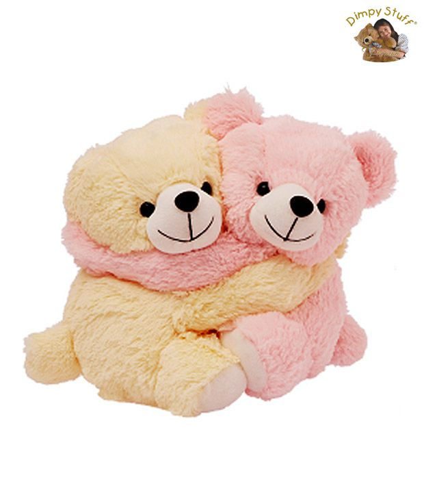Dimpy Stuff Sweet Pink & Cream Bear Couple Soft Toy-48 cm