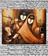 MeSleep Canvas Radha Krishna in Brown Painting Without Frame