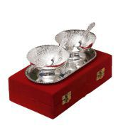 Silver Plated Brass Bowl With Tray Set Of 5 Pcs