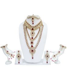 LUCKY JEWELLERY MAROON, KUNDAN SET