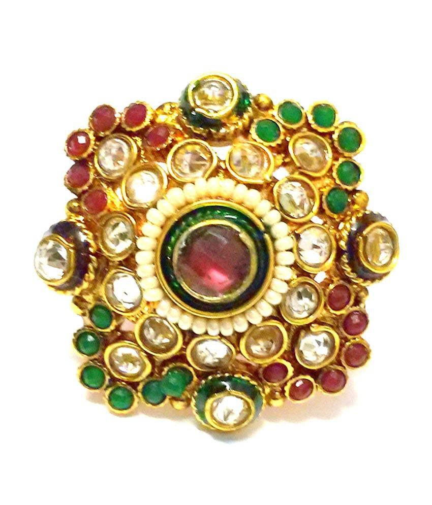 adoreva gold plated traditional exclusive kundan ring buy
