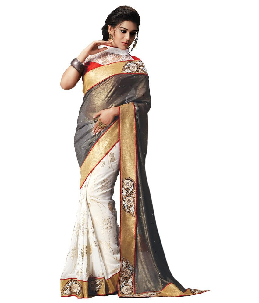 Rangoli Hi Choice Rangoli Georgette With Golden Print And Pallu Shimmer Chiffon White And Gray Colour.