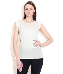 Fcuk Ghostwhite Poly Cottonround Neck Tops
