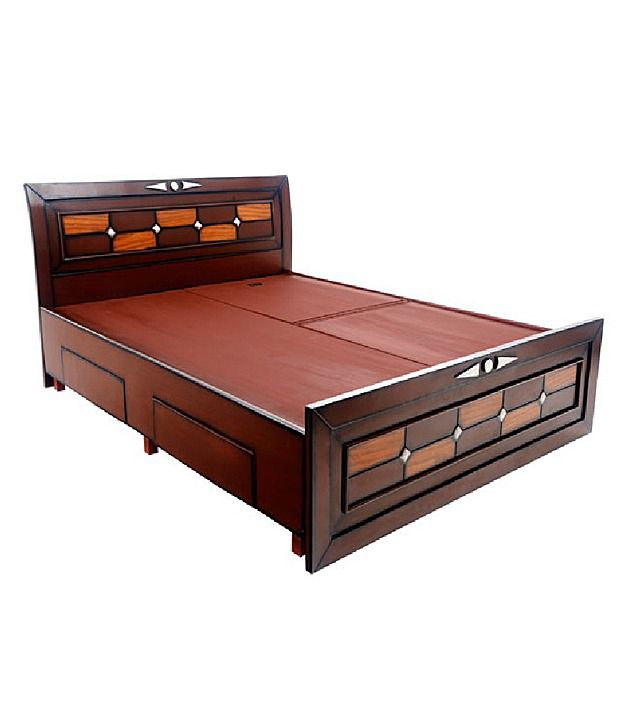 Solid wood double bed with storage buy online for Double bed designs in wood with storage