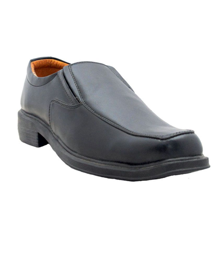 bata black leather slip on formal shoes price in india