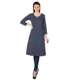 Sritika Navy Cotton Straight Polka Dots Kurti