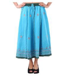Iwonder Turquoise Cotton Circle Skirt