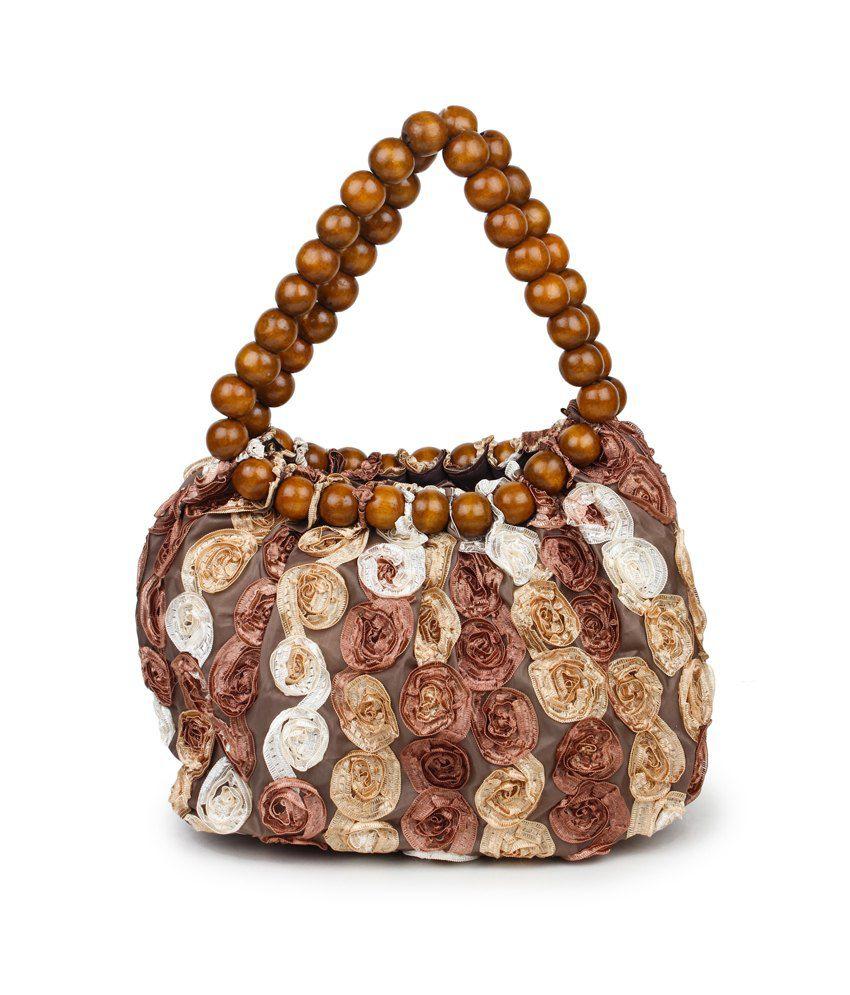BR Brown Shoulder Bag With Wooden Beads Strap