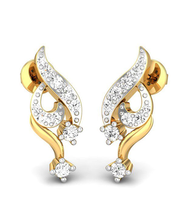 Candere Dipashri Diamond Earrings Yellow Gold 14K