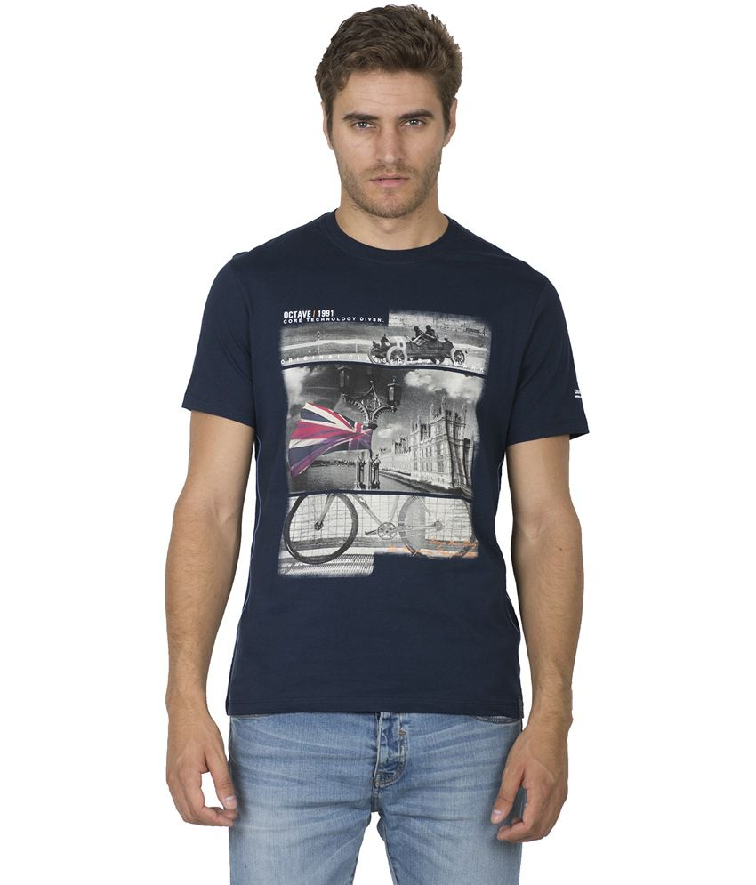 Octave Navy Cotton Half Sleeves Printed Round Neck T-shirt