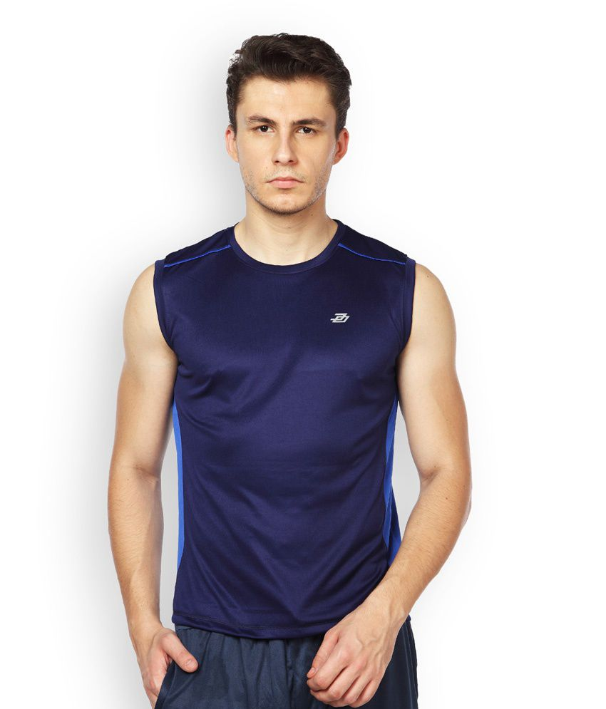 Difference of Opinion Navy Polyester Fitness T - Shirt