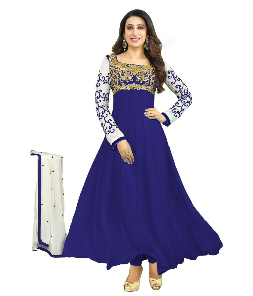 Fashion Mania White And Blue Georgette Anarkali Gown
