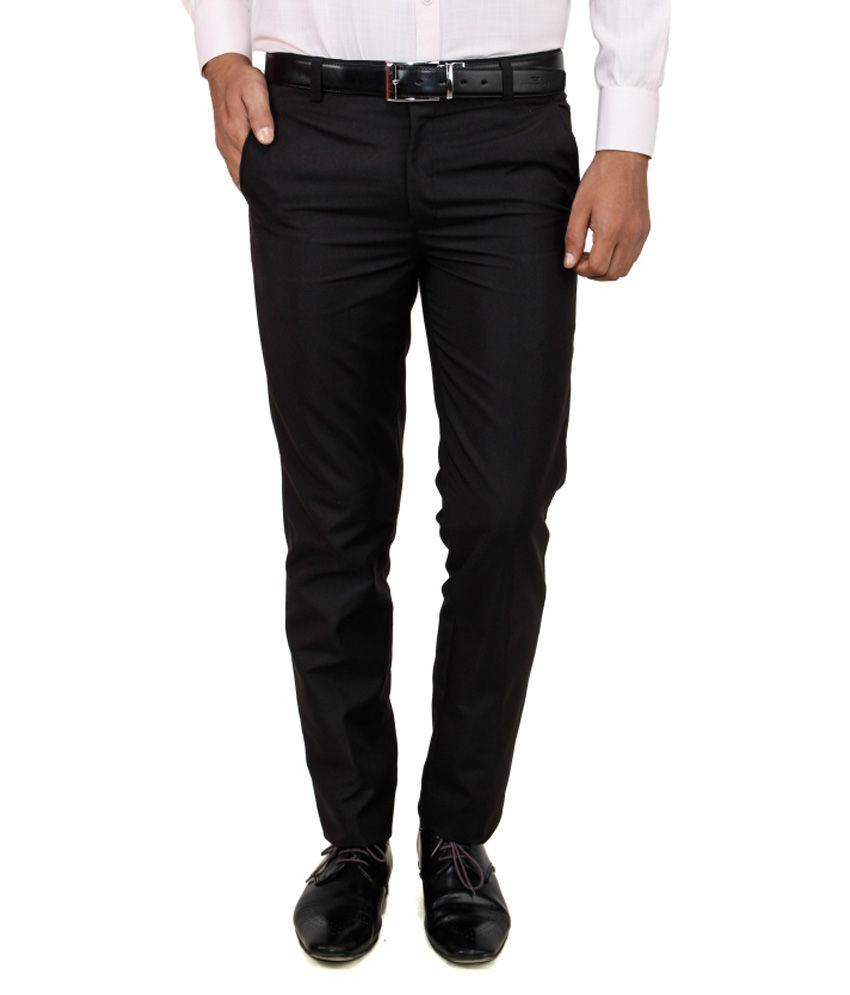 Frankline Black Cotton Blend Trouser