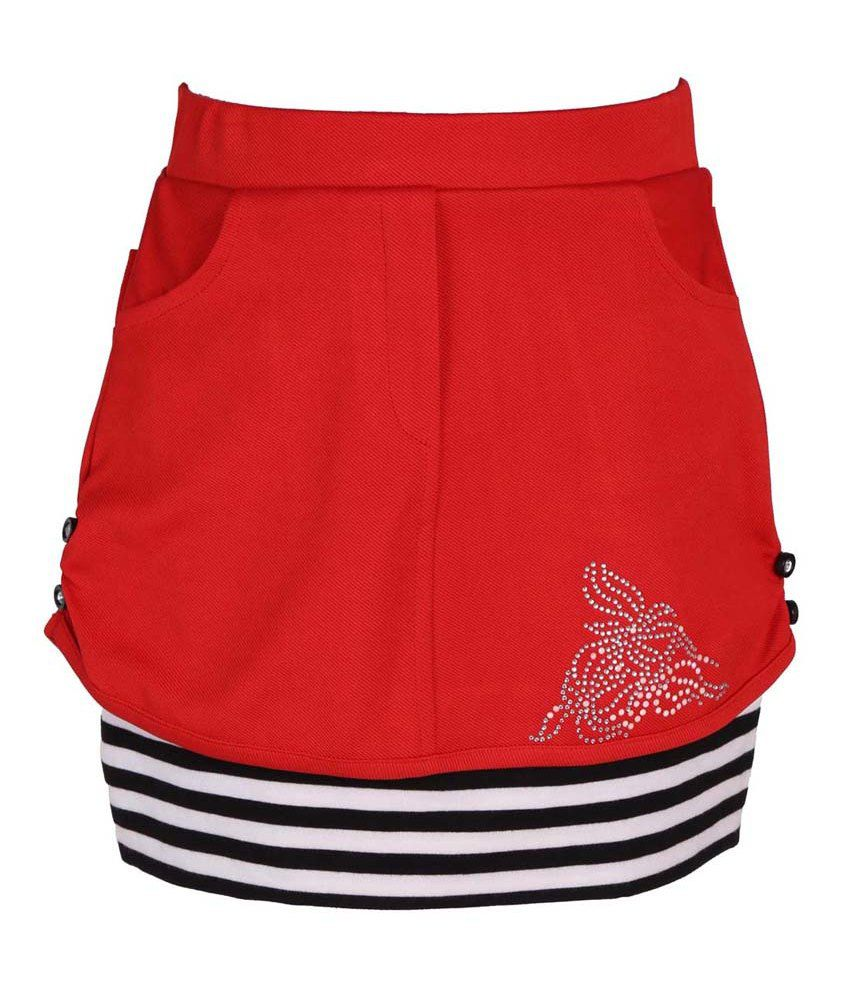 Leichie Red Synthetic Elastic Skirt