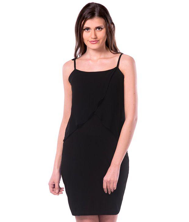 Miss Chase Cotton Black Bodycon Dress
