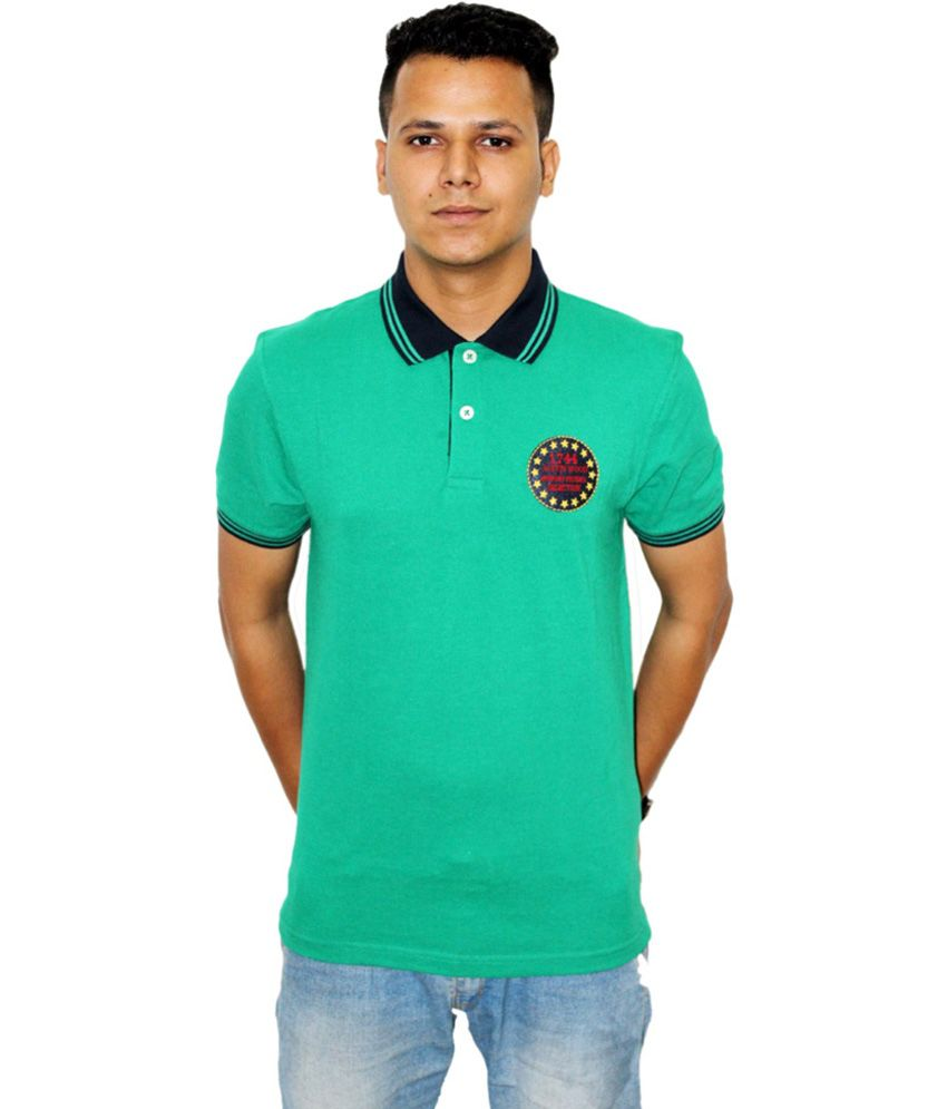 Austin wood green cotton half sleeve polo t shirt buy for Full sleeve polo t shirts