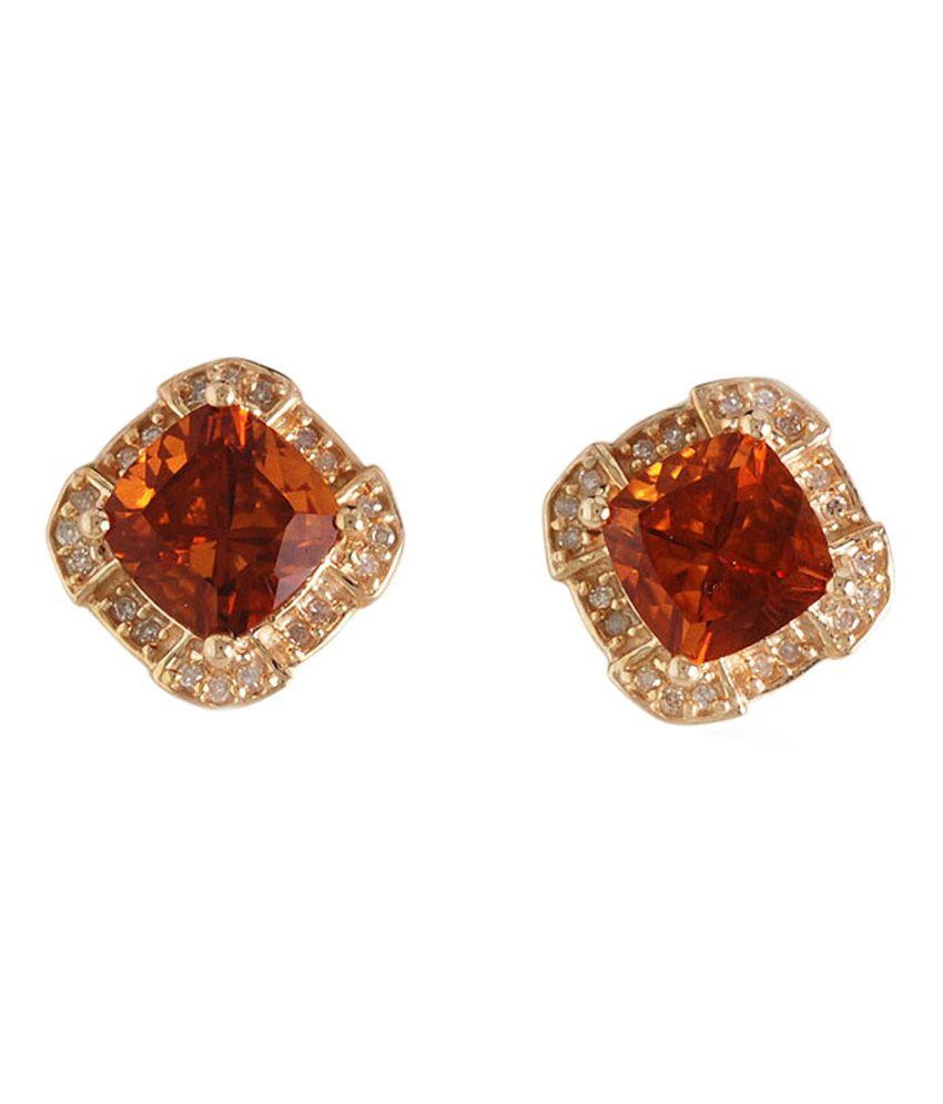 Sam Madeira Citrine And Daimond 9 Kt Gold Earrings