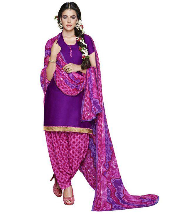 Sunday Patiyala Purple Cotton Unstitched Dress Material