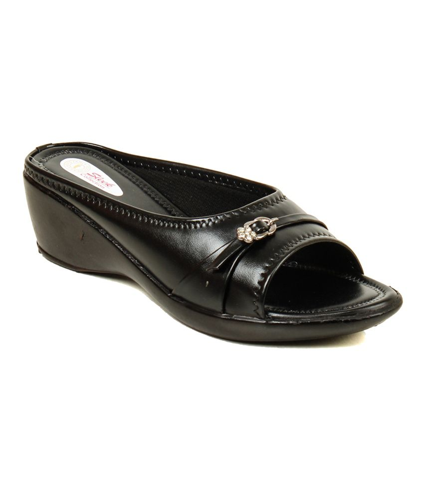 Trendz Deal Black Wedges Heeled Slip-on