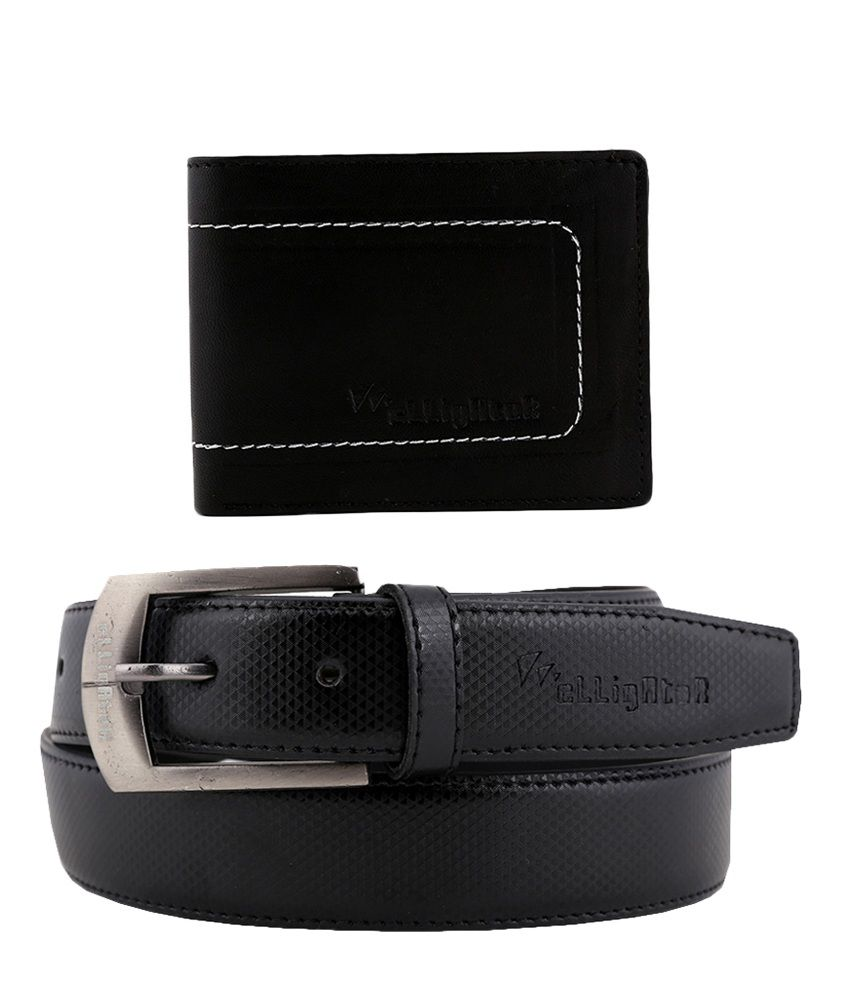 Elligator Black Men Leather Belt with Wallet