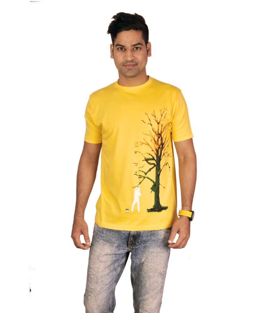 Golju Design Yellow Cotton Half Round Neck T-shirt