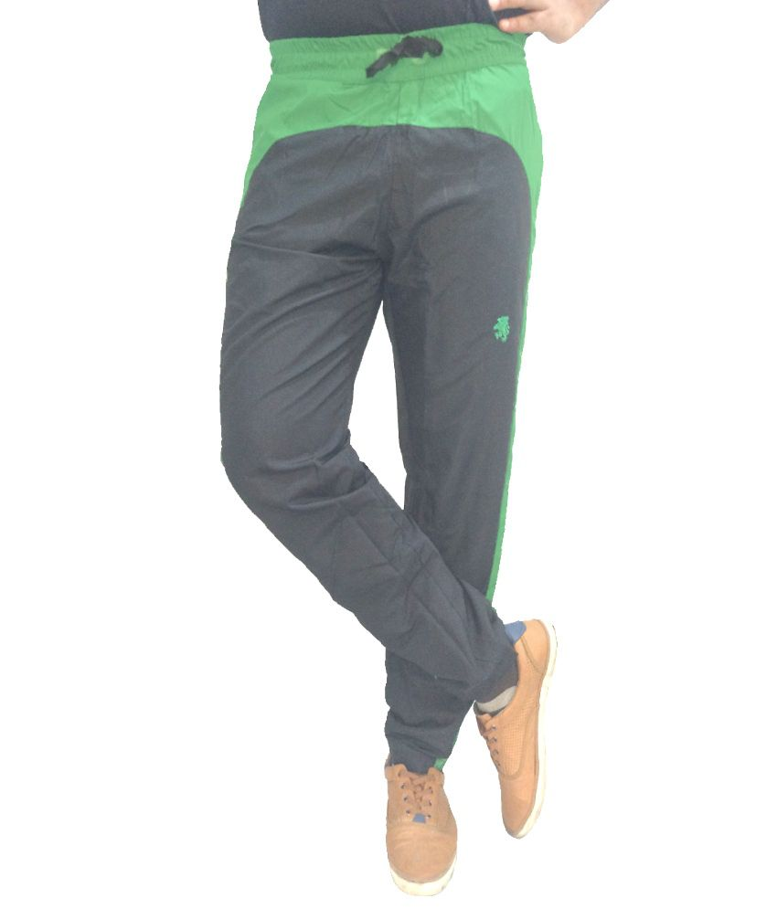London Eye Green Cotton Blend Trackpants