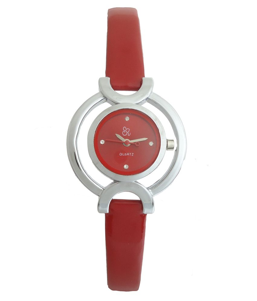 S R COLLECTION S R Collection Maroon Leather Formal Analog Watch