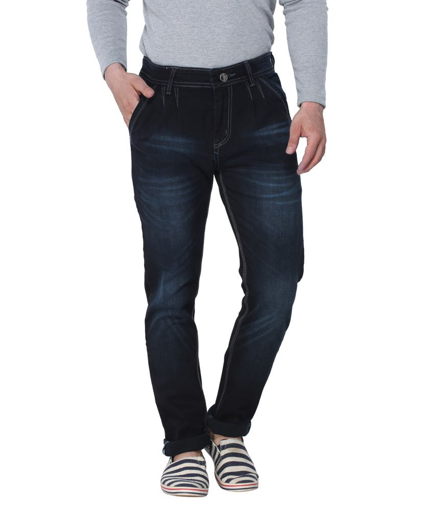 Altran Black Cotton Tapered Fit Jeans