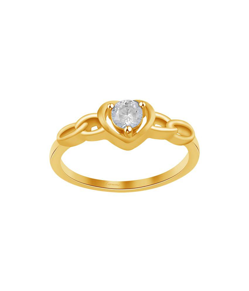 Ciemme 0.50 Ct CZ 18 Kt Gold Plated 925 Sterling Silver Solitaire Ring