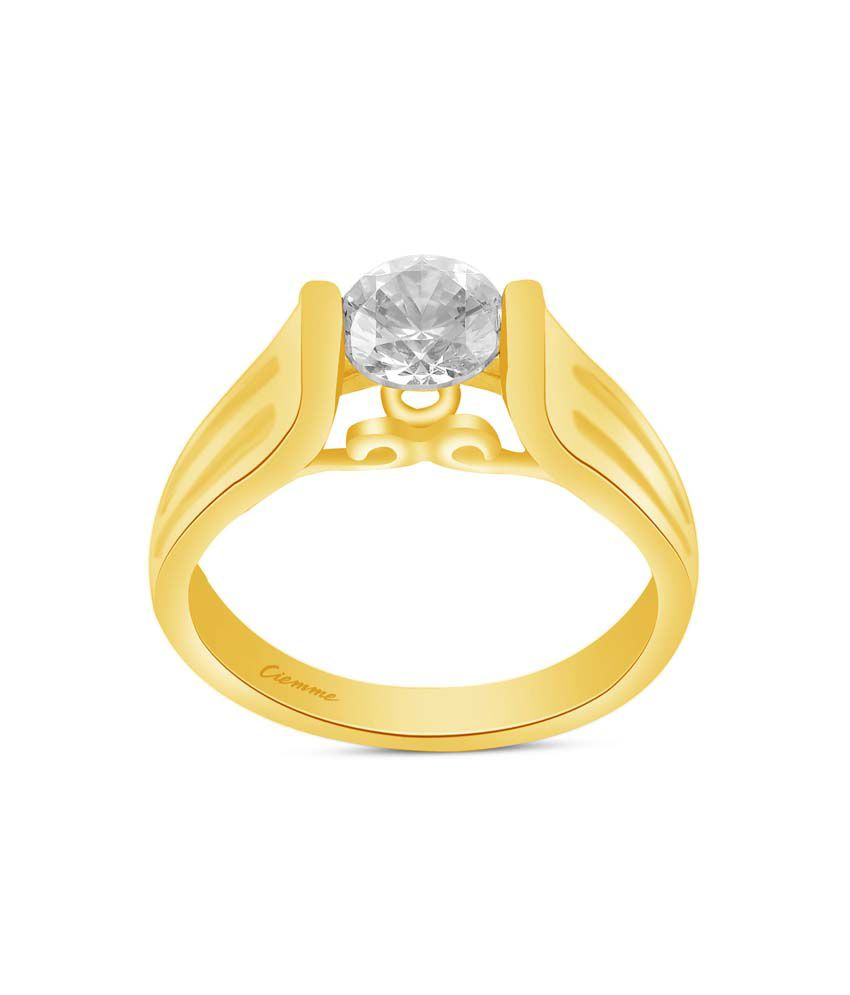 Ciemme 2.02 Ct CZ 18 Kt Gold Plated 925 Sterling Silver Solitaire Ring