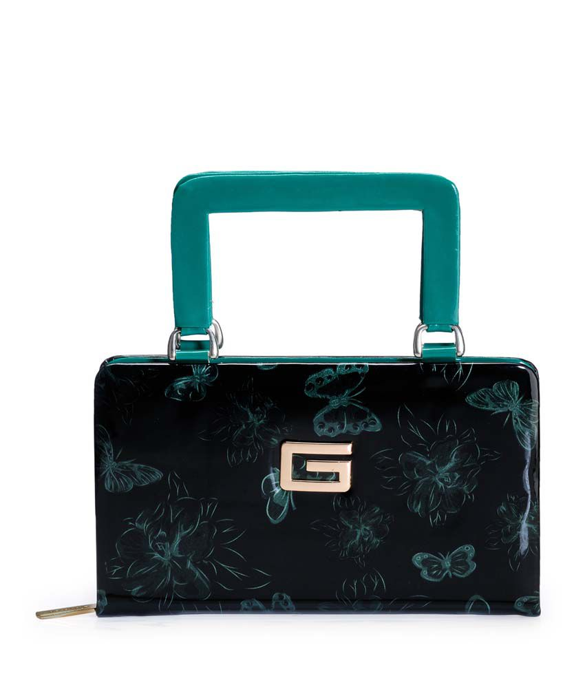 Frosty Fashion Green P.u. Zip Closure Clutch & Wallet