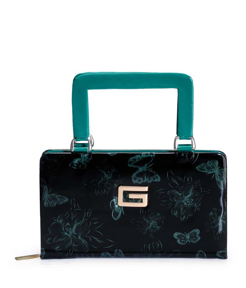 Frosty Fashion Green P.u. Zip Closure Clutch & Wallet