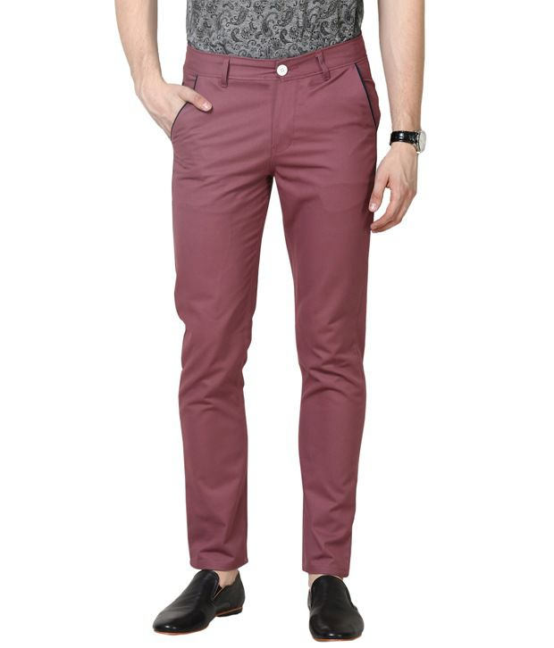 Haute Couture Maroon Casual Chinos
