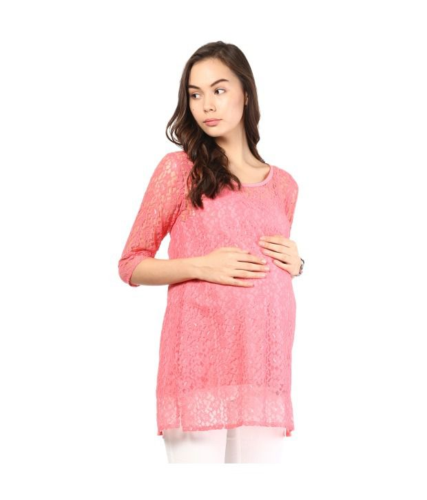 Mine4nine Pink Cotton Lace Maternity Dress