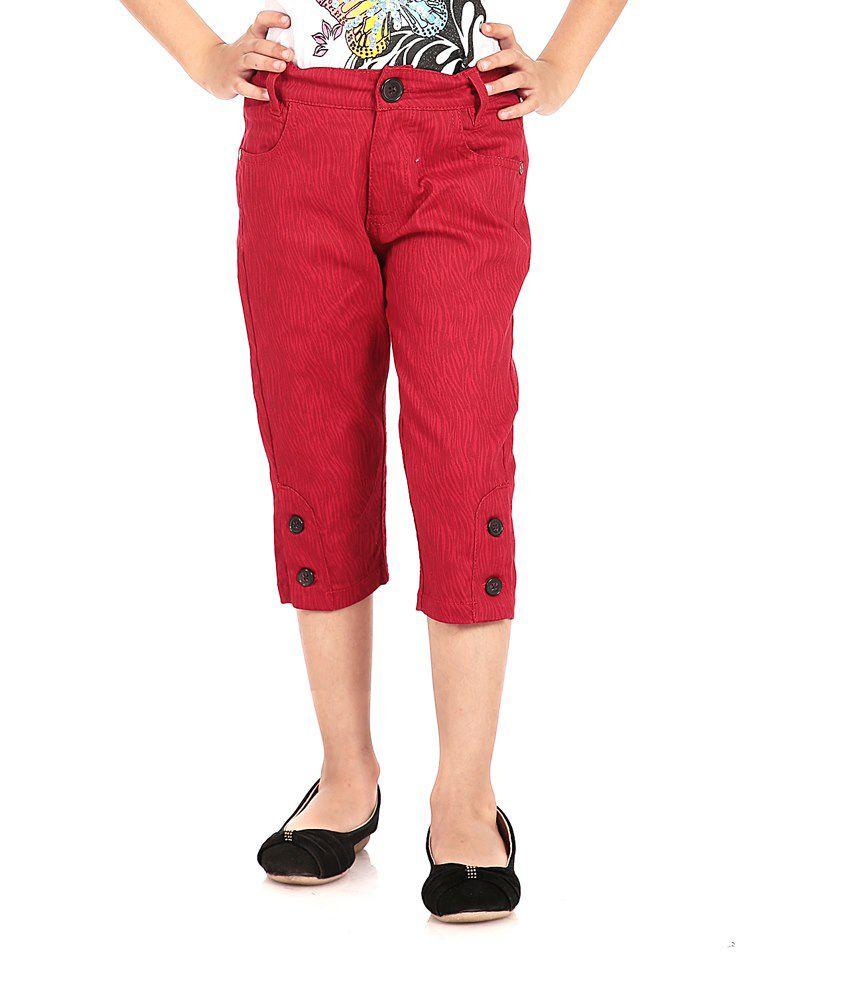 Posh Kids Red Cotton Capris