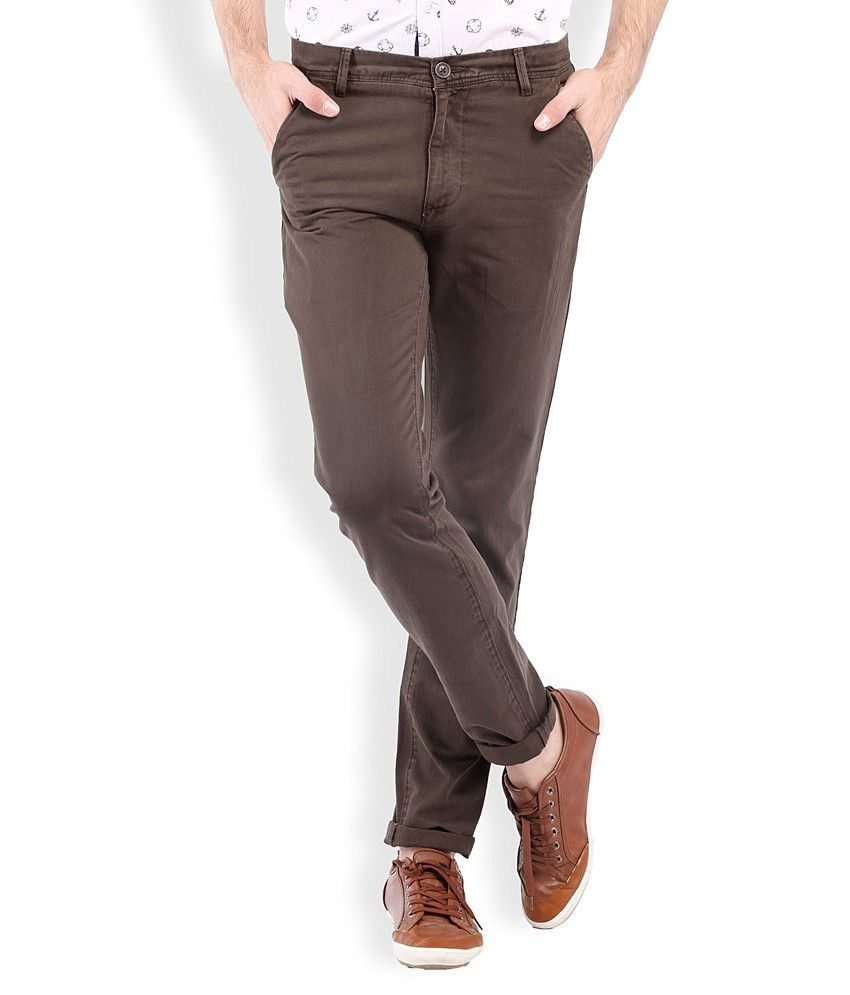 Vintage Brown Slim Fit Casuals