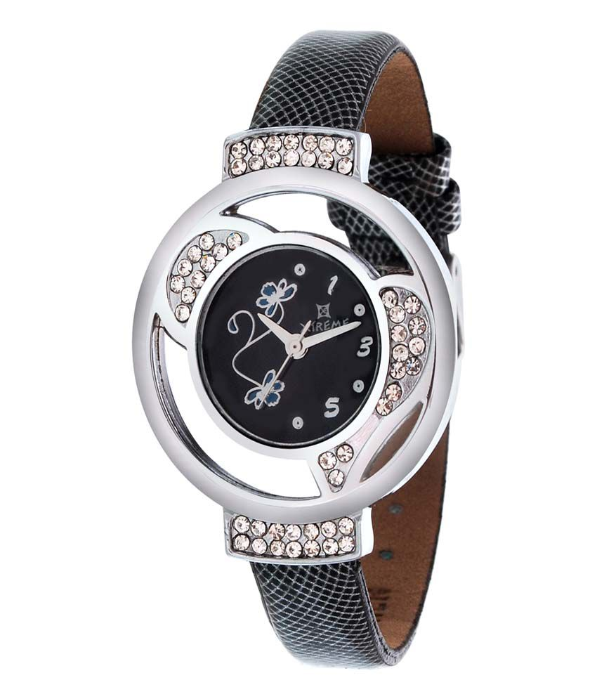 Xtreme Black Leather Casual Quartz Watch