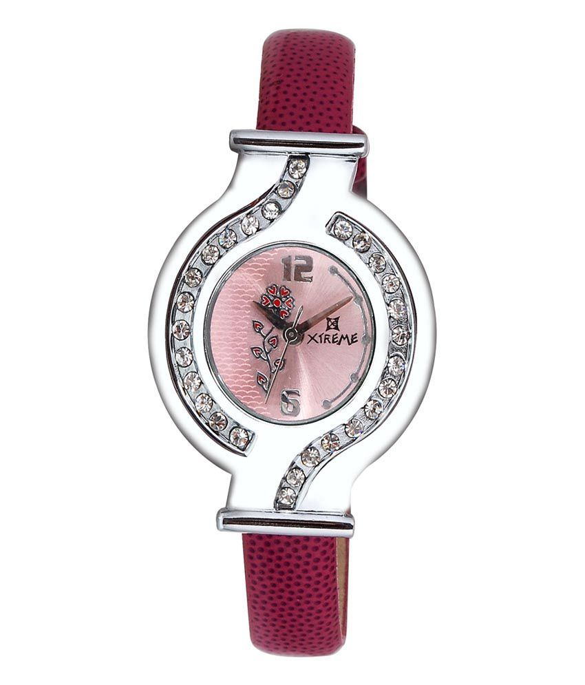 Xtreme Pink Leather Casual Quartz Watch