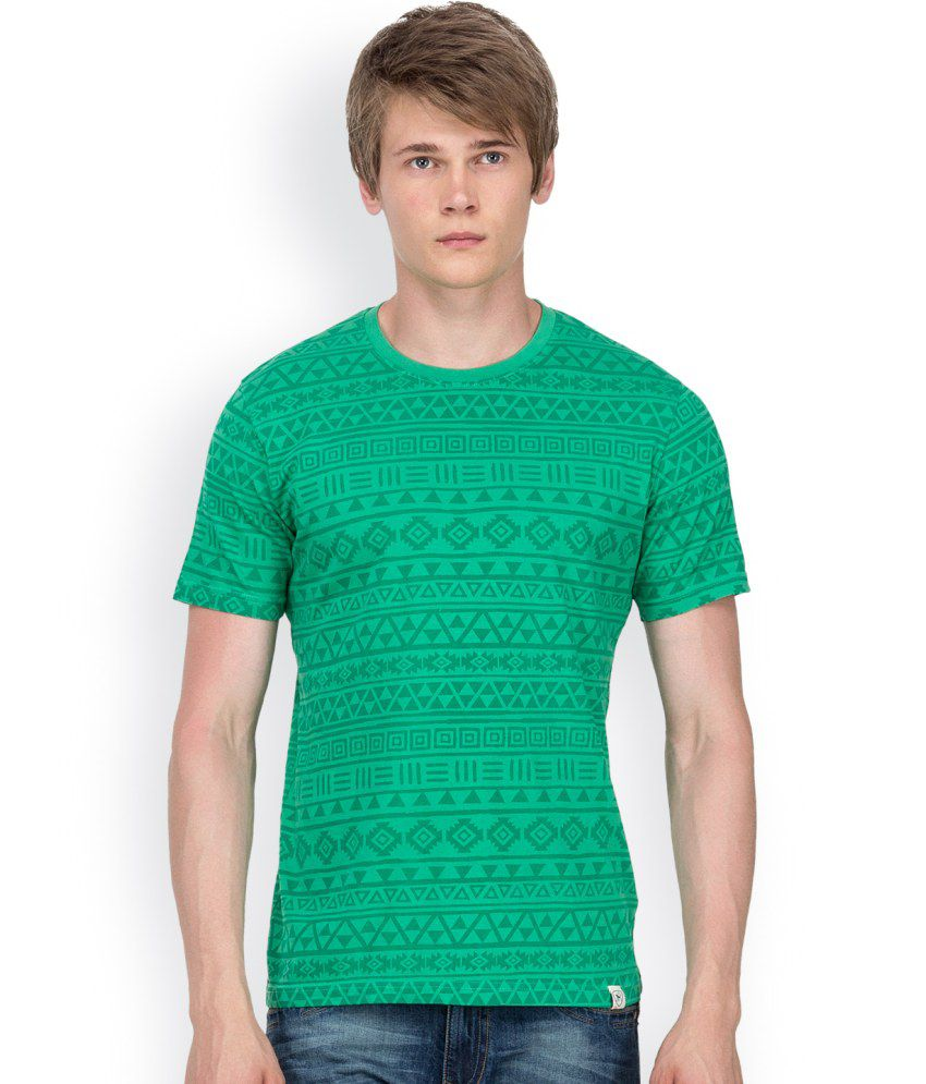 Blu Mnky Green Cotton T-shirt For Men