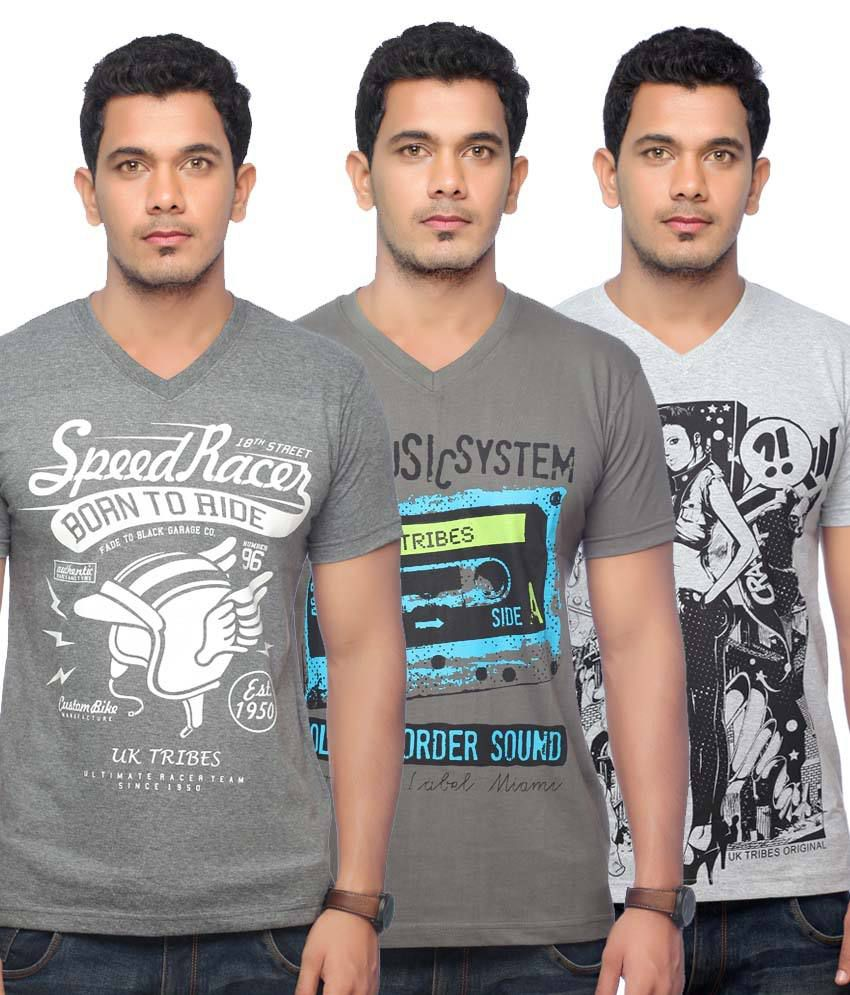 UK Tribes Grey and White Cotton Half V-Neck Printed T-Shirt - Pack of 2