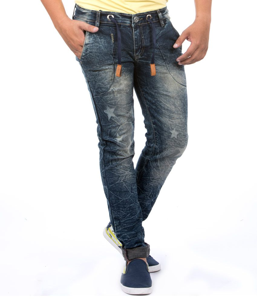 Jeanster Blue Cotton Blend Skinny Fit Jeans