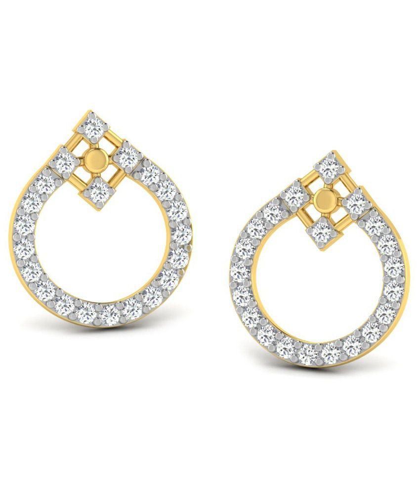 Sparkles 0.78 Ct Diamond & Nice 18 Kt Gold Stud Earrings