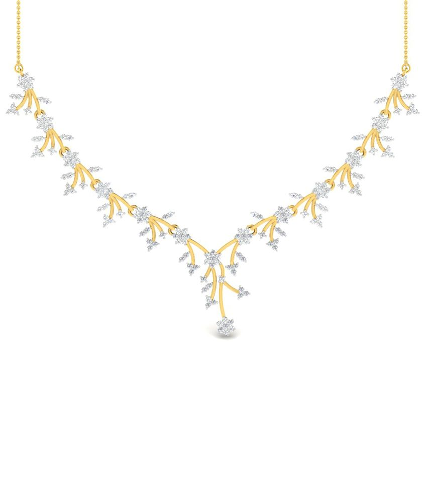 Sparkles 2.54 Ct Diamond & 18 Kt Gold Necklace for Women