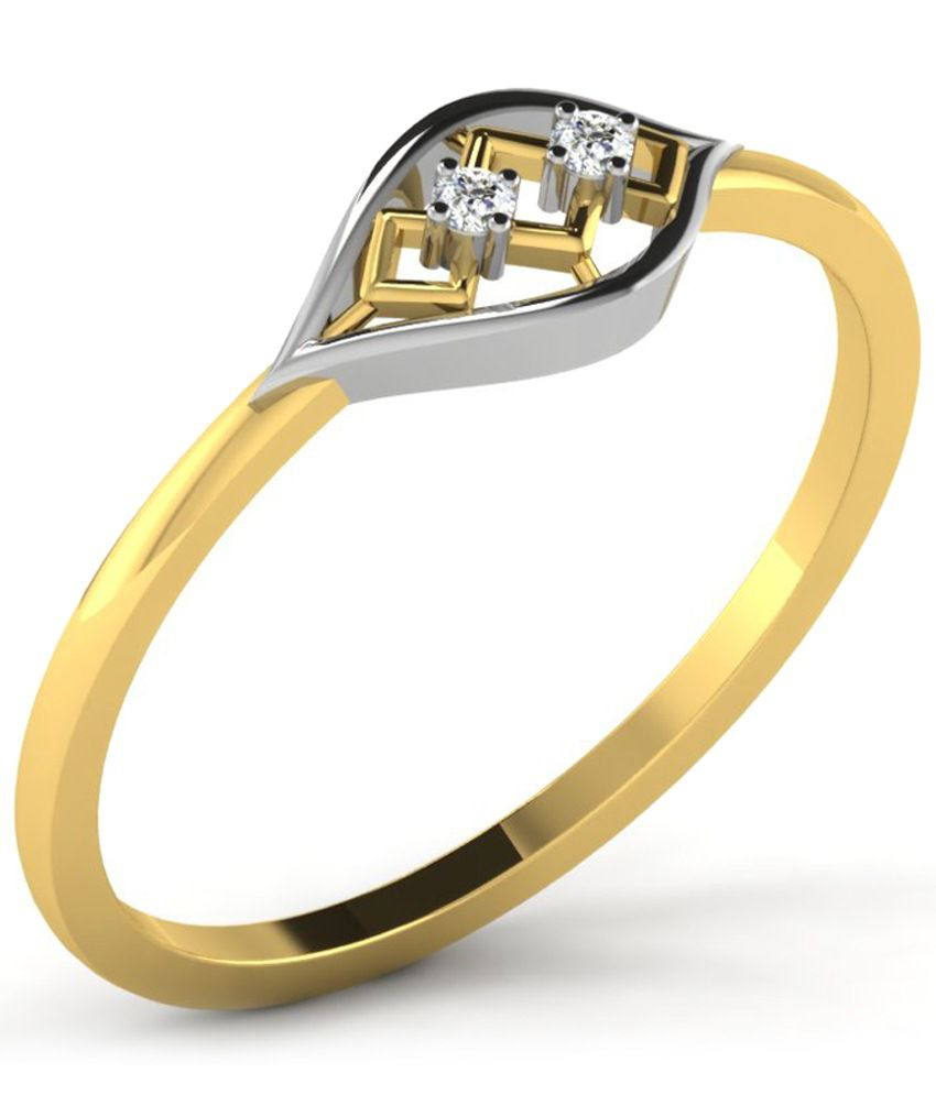 Sparkles Outstanding 0.02 Ct Diamond & 18 Kt Gold Ring for Women